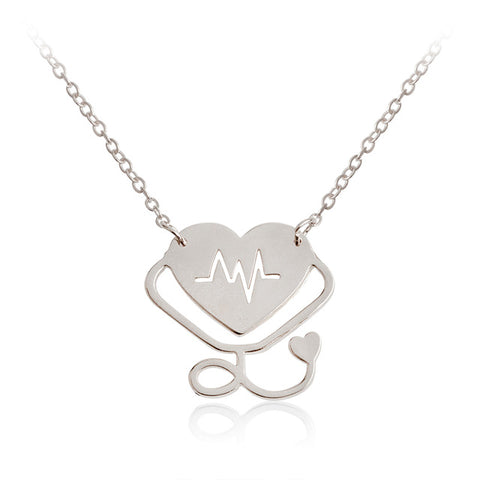 Nurse Heart & Heartbeat Necklace