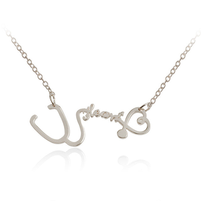 Nurse Stethoscope Heart & Heartbeat Necklace