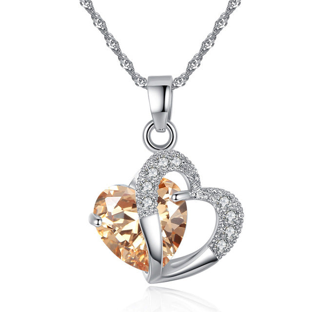 Plated 925 Sterling Silver Heart Pendant Necklace