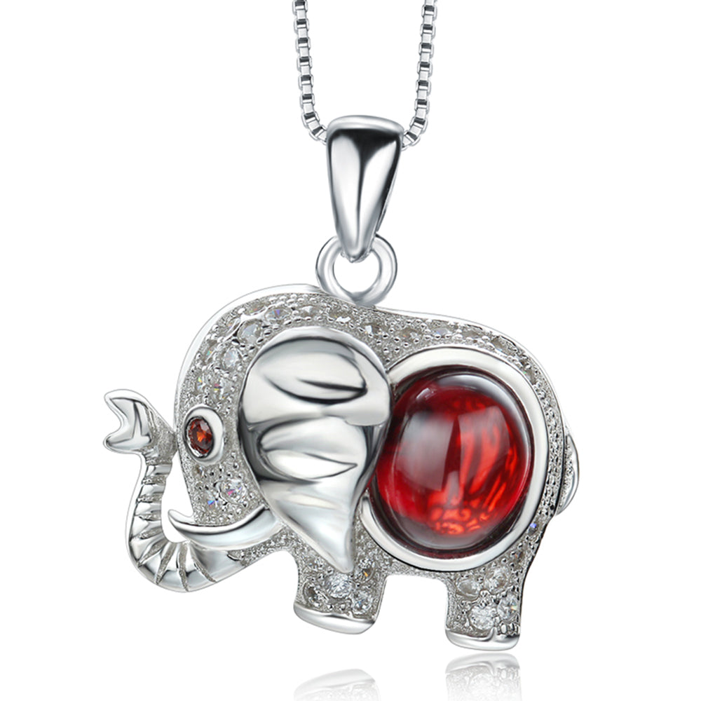 925 Sterling Silver Red Garnet Stone Elephant Necklace