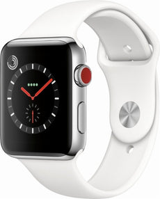 Apple Watch Series 3 (GPS + Cellular) - stainless steel - smart watch with sport band - soft white