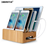 XBERSTAR Bamboo Holder for iphone Stand for Samsung Phone Cords Charging Station Docks Holder Stand for Smart Phones and Tablets