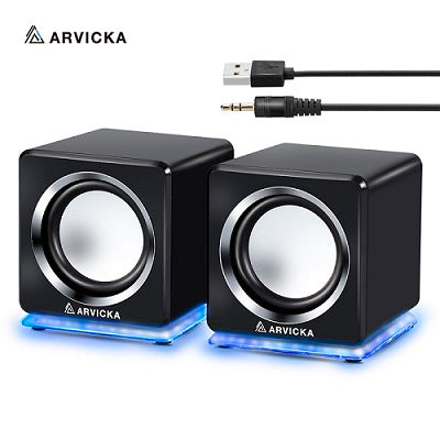 ARVICKA Wired Mini Computer Speakers LED USB 2.0 PC Speakers for Laptop Desktop Phone 6W Powerful Upgrade Multimedia Speaker