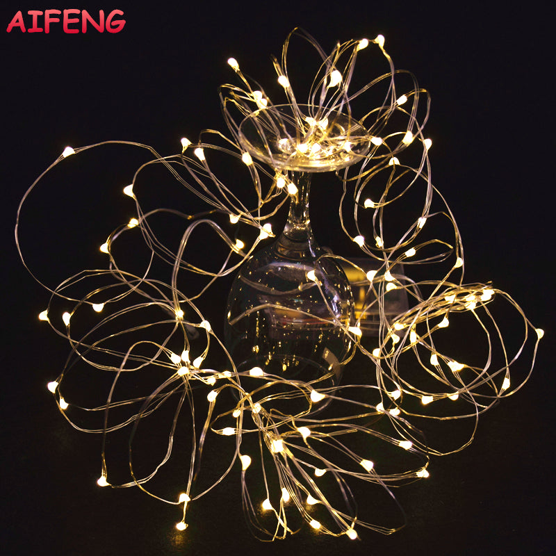 AIFENG Fairy Lights AA Battery Powered 2M 20 3M 30 5M 50 10M 100Leds Silver Led Copper Wire String Light Decorative Fairy Lights