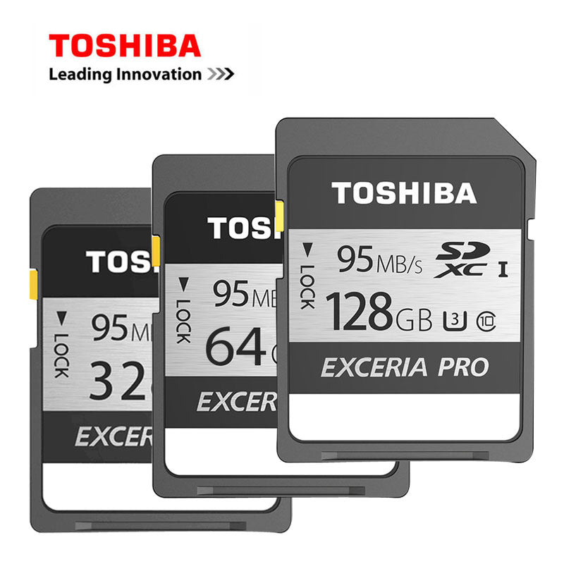 100% Original TOSHIBA SD Card EXCERIA PRO 128GB 64GB 32GB Class 10 UHS-I U3 SDHC SDXC Carte SD Memory Card 95MB/s For Camcorder