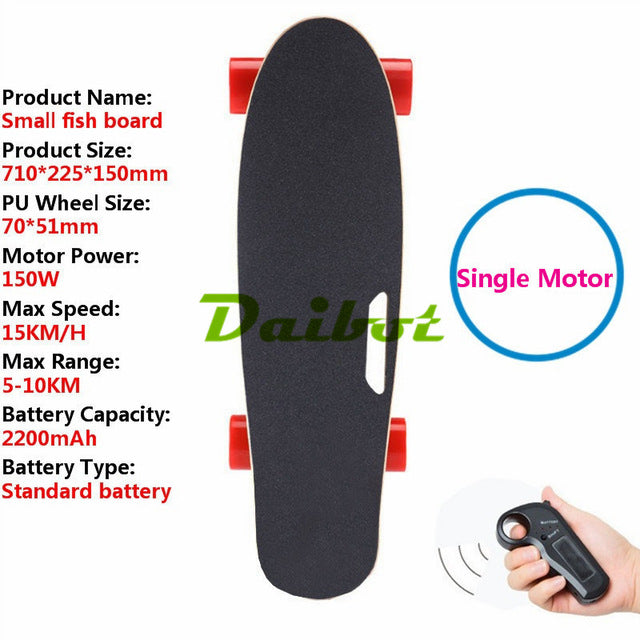 4 Wheel Electric Scooter Children Kick Scooter Single Hub Motor 4 Wheel Electric Skateboard with remote controller