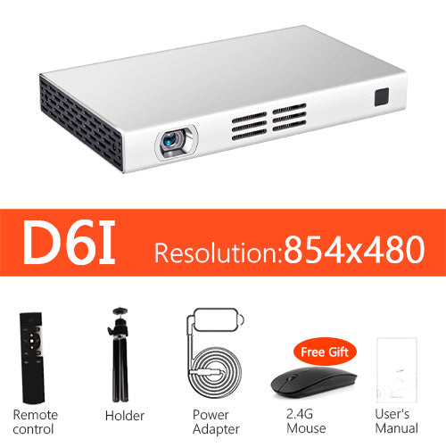AUN DLP WIFI Projector D6S, 1280*720 Resolution, Android 5.1, MINI Beamer, Bluetooth, 8,000mAH Power Bank. HDMI,  (Optional D6I)