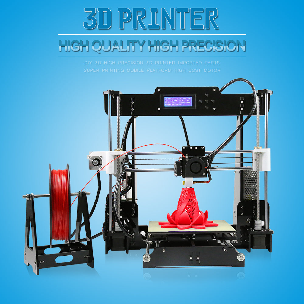 A8 DIY 3D Printer Kits Arcylic Frame Reprap with 10m 3D Printer Filament 8GB SD Card Tools for Anet 3D Printer Printing Machine