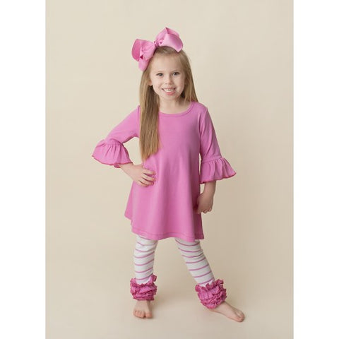 Rose Bell Sleeve Tunic Ruffle Set