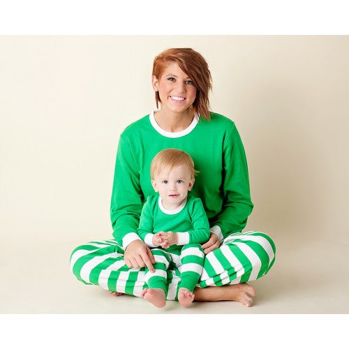 Mom and Child Wearing Green and White Pajamas