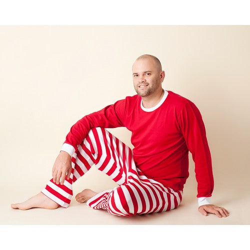 Man wearing Red and White Stripe Pajamas