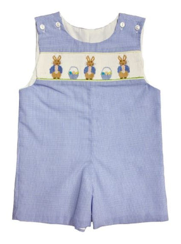 LIGHT BLUE BLUE BUNNY SMOCKED SHORTALL