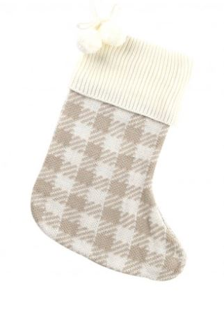 TAN CHECK KNIT STOCKING