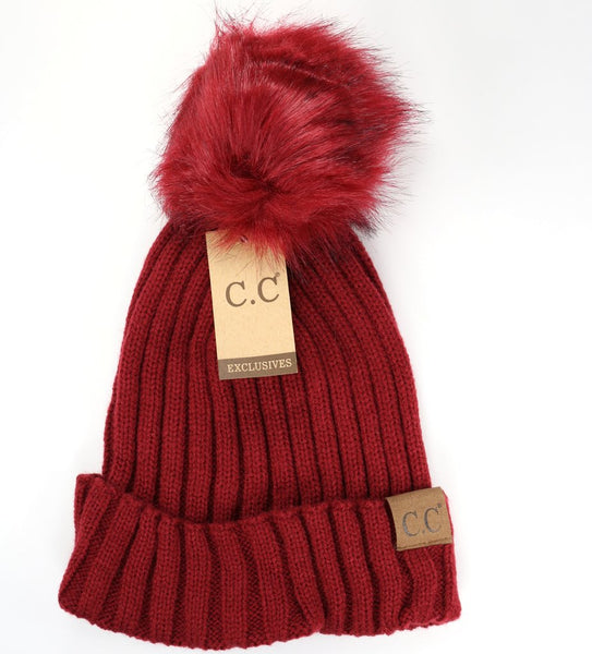Solid Ribbed Matching Fur Pom CC Beanie Hat