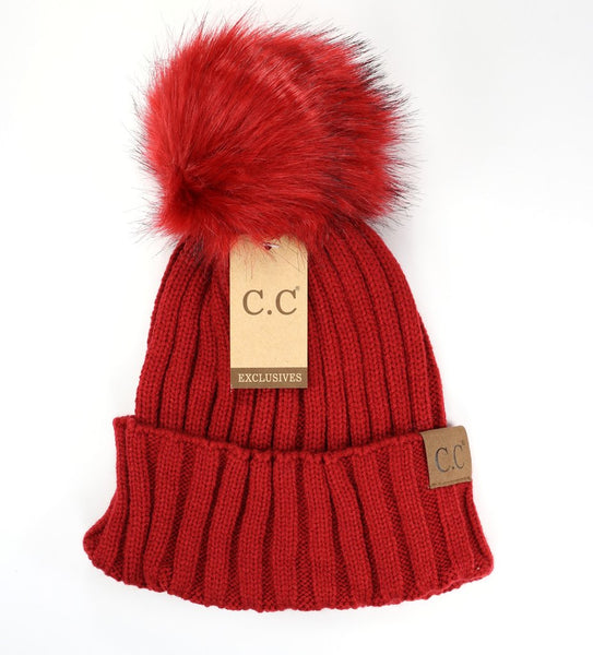 6111d9fae11 Solid Ribbed Matching Fur Pom CC Beanie Hat