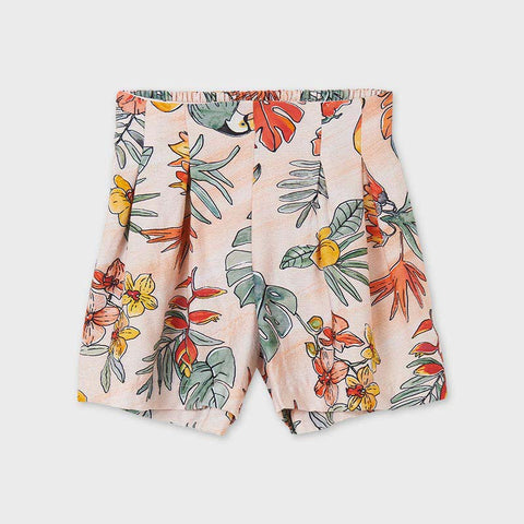 Peach floral Printed shorts