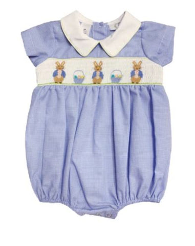 LIGHT BLUE BLUE BUNNY SMOCKED BOY BUBBLE