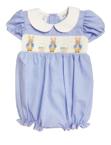LIGHT BLUE BUNNIES SMOCKED WAIST BUBBLE