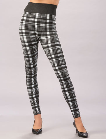Black Printed Fleece Lined Leggings