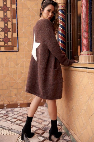 STAR FUZZY KNIT CARDIGAN