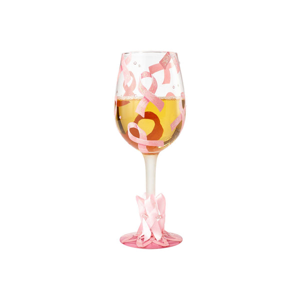 Pink Ribbon Wine Glass by Lolita with beverage in glass