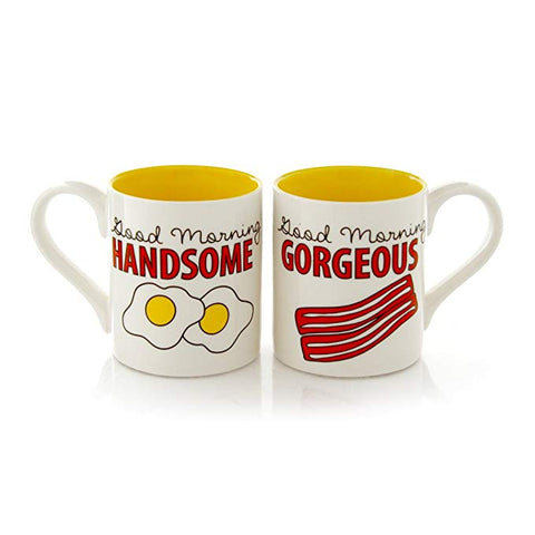 "Our Name is Mud ""Bacon and Eggs"" Stoneware Mug Set, 12 oz. each"
