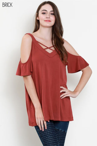 Cold Shoulder Modal X Strap Top