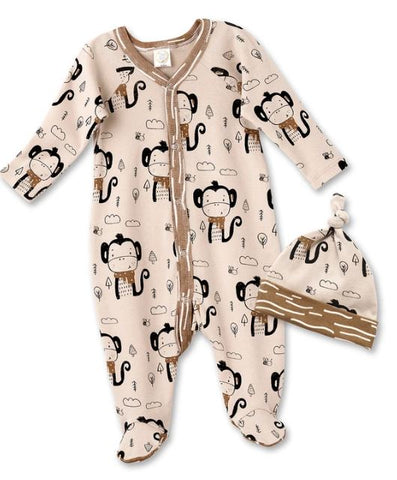Funky Monkey Footed Romper & Hat