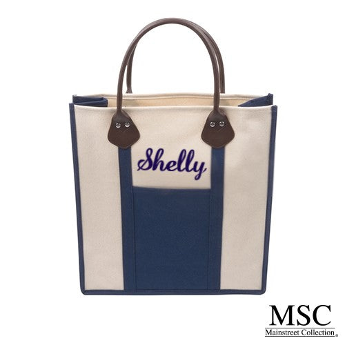 NAVY CANVAS BREYTON TOTE by MSC