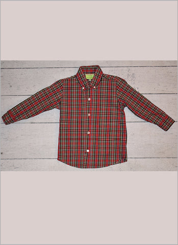 Christmas Plaid Boys Oxford Shirt by LeZaMe
