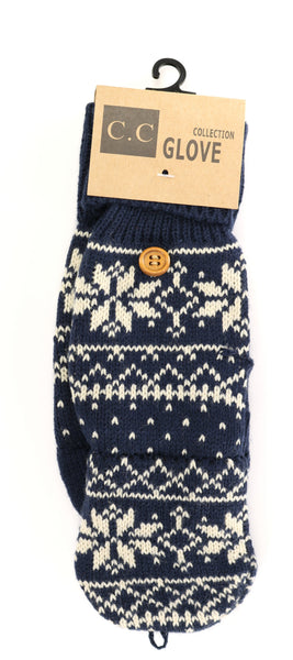 Navy Snowflake Gloves by C.C beanie