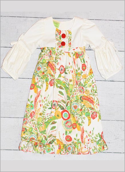 Floral Microburst Kadi Peasant Dress