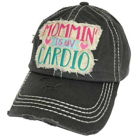 MOMMIN' IS MY CARDIO BALL CAP BLACK
