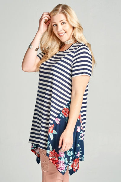 Navy Stripe Sharkbite Tunic