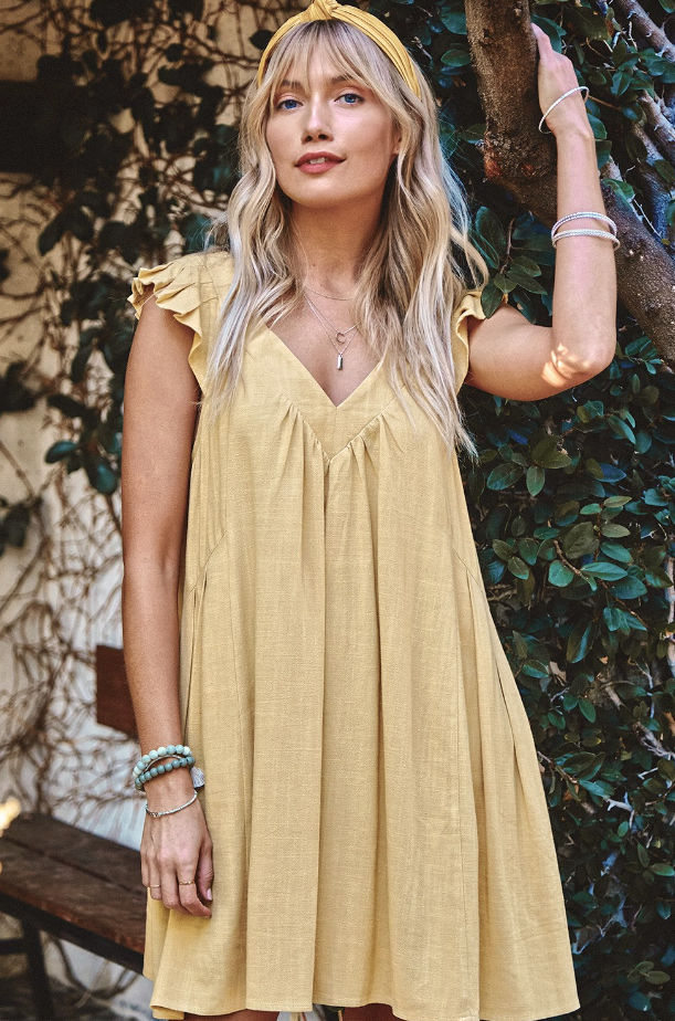 Sunshine Yellow V-Neck Dress