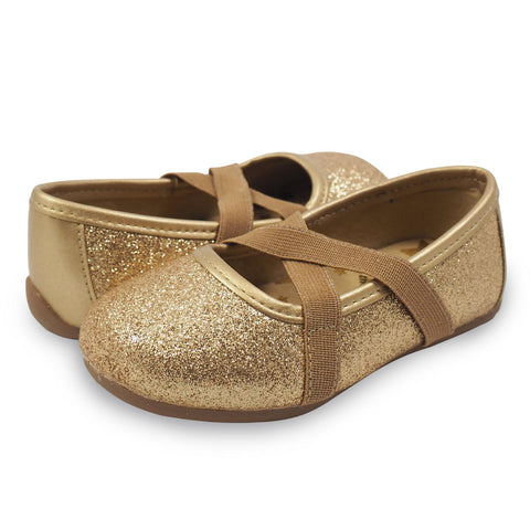 Aurora Gold Glitter Ballet Flat by Livie & Luca