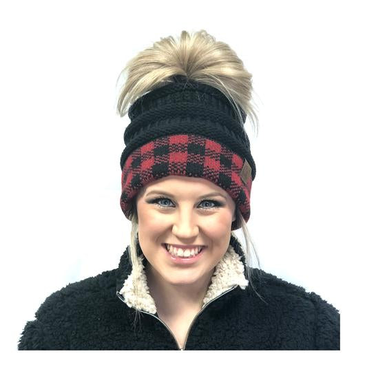 BUFFALO PLAID MESSY BUN BEANIE