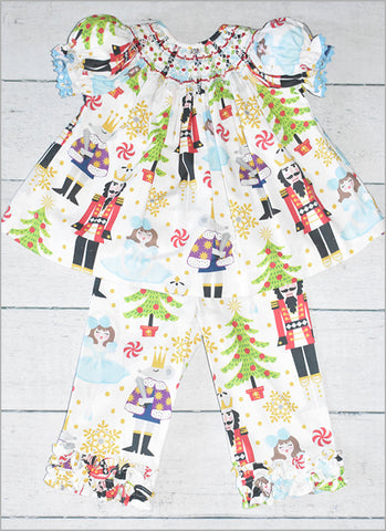 toddler girls nutcracker smocked outfit