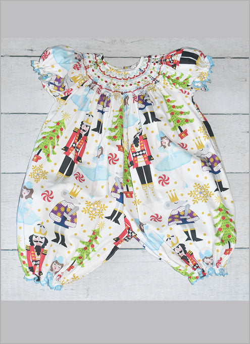 Nutcracker  Carissa Smocked Romper by LeZame