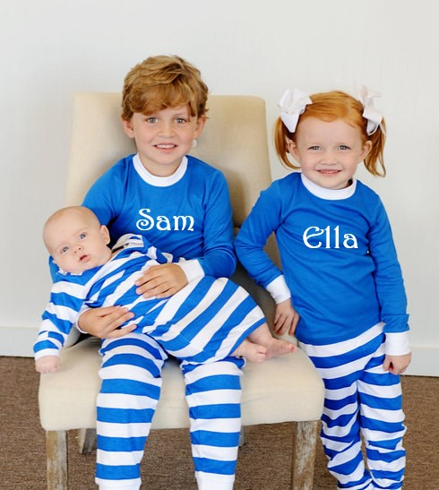 personalized blue and white pajamas