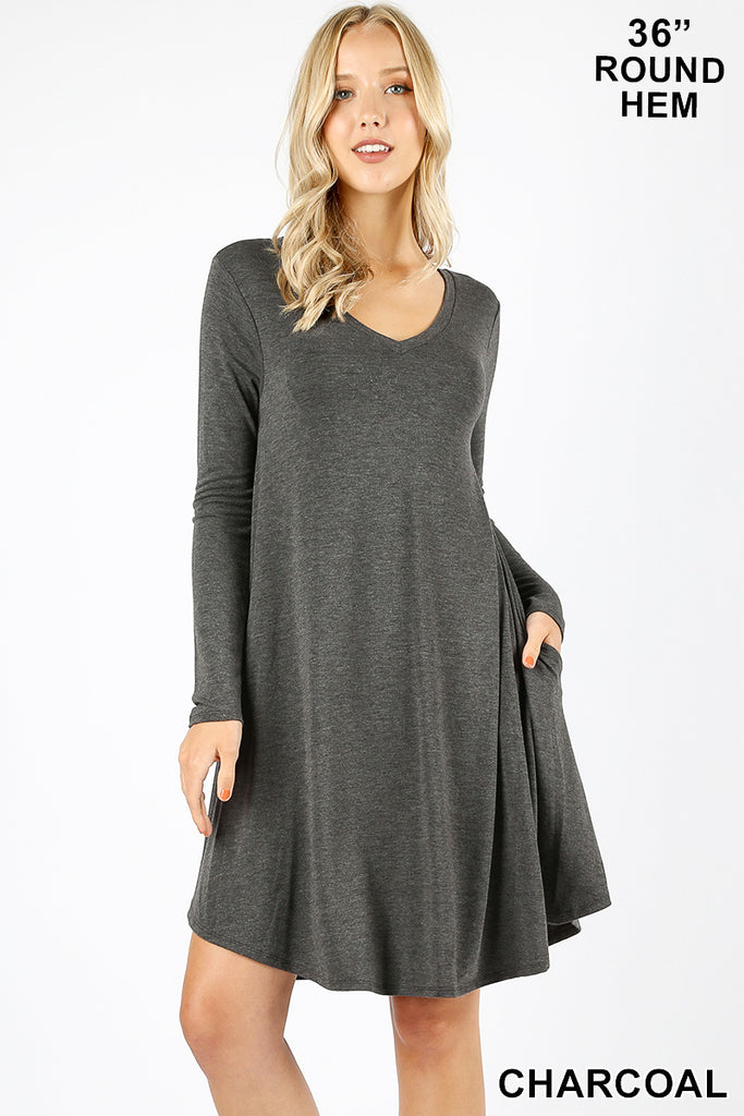 LONG SLEEVE DRESS WITH POCKETS-PLUS
