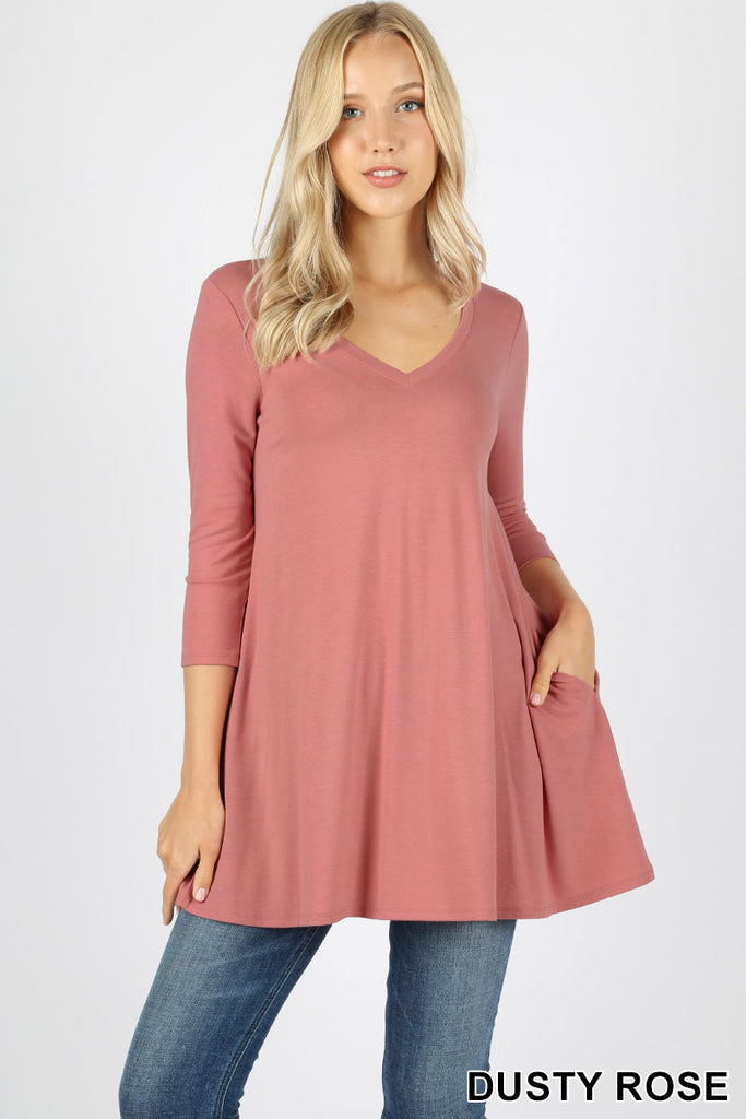 3/4 SLEEVE FLARED TOP W/ POCKETS-PLUS