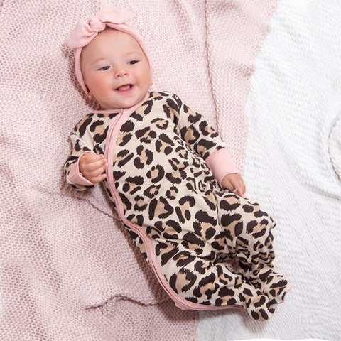 Baby Girl Footed Leopard Romper with Zipper- Tesa Babe