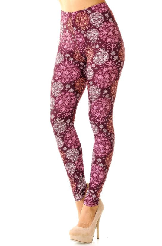 BUTTERY SOFT FESTIVE SNOWFLAKE ORNAMENTS LEGGINGS