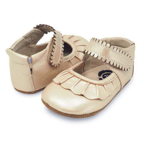Champagne Ruche Mary Jane Crib Shoe