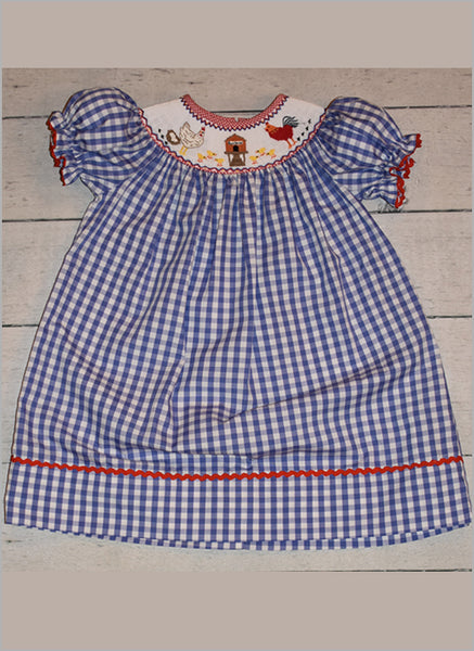 smocked rooster dress