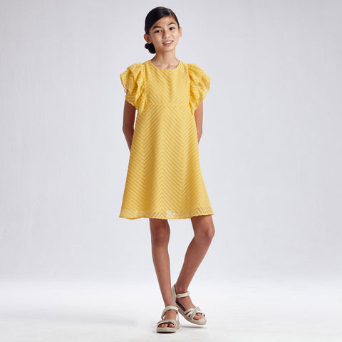 MUSTARD RUFFLED SLEEVE DRESS