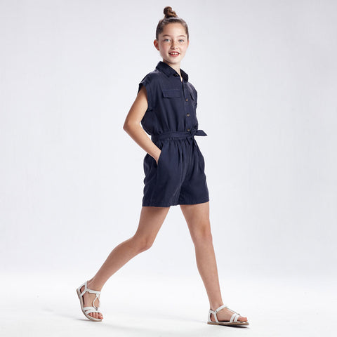 Navy Ecofriends loose romper with belt