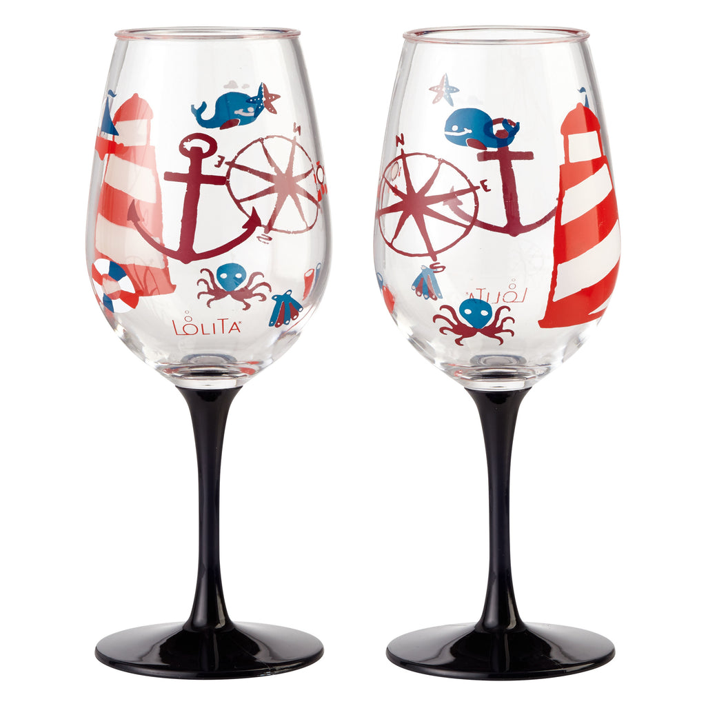 LOLITA MARITIME ACRYLIC WINE GLASSES SET