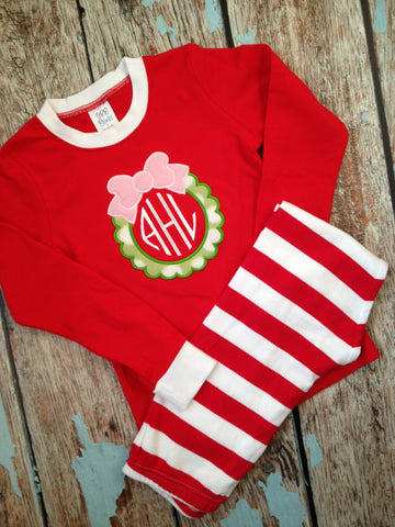 monogrammed wreath pajamas